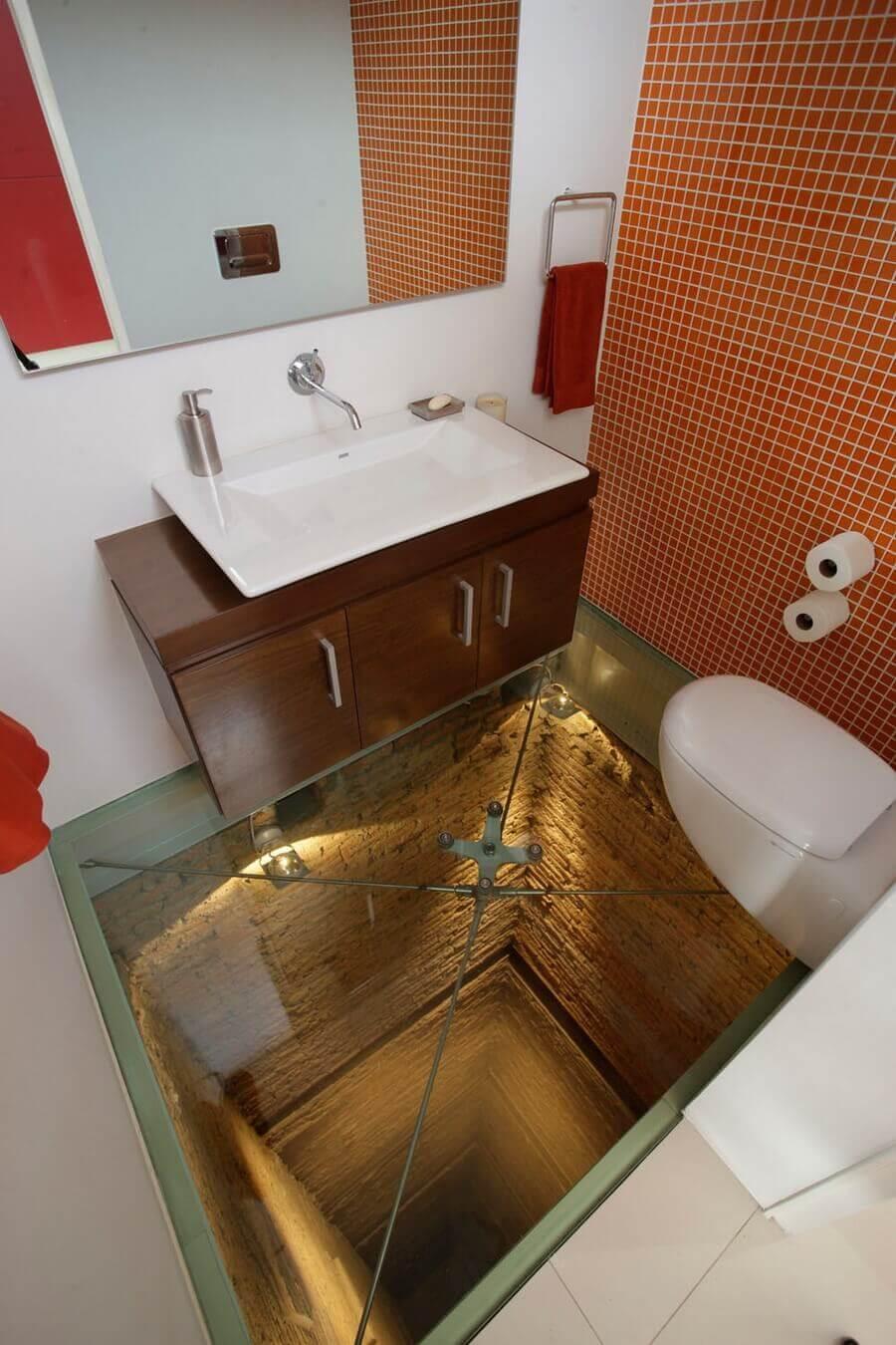 Glass Floor and an Open Shaft Below Your Bathroom