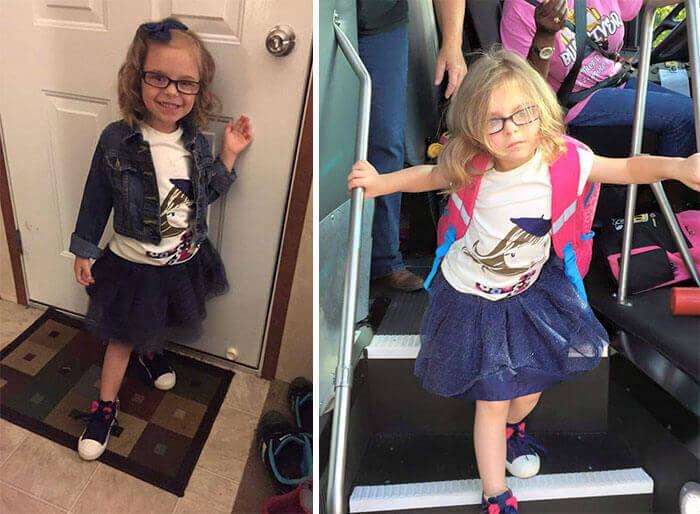 Смешные фотографии малышей до и после их первого дня в школе