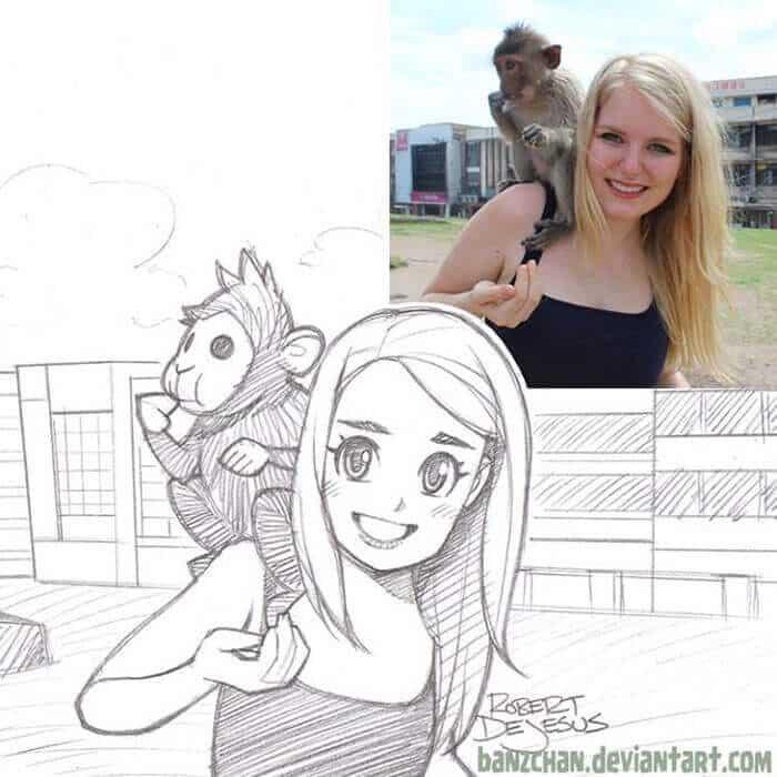 Иллюстратор превращает людей и их домашних животных в персонажей мультфильма