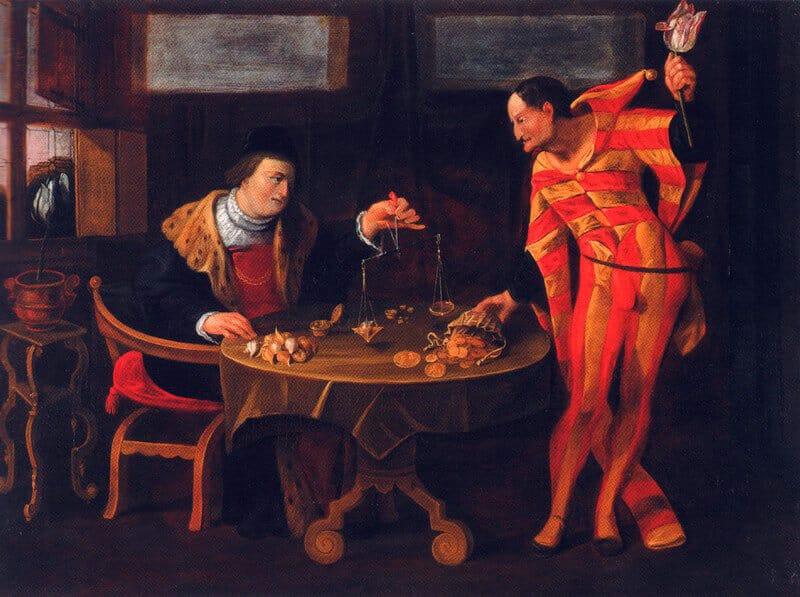 Торговец и тюльпаноман, карикатура XVII века